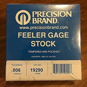Precision Brand 0 006 Steel Feeler Gage 1 2 X 25 Coil 19290