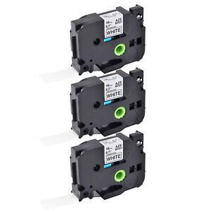 3pk Tze 241 Tz 241 3 4 Black On White Tape 18mm For Brother P touch Label
