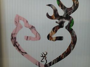 Browning Style Reg Buck And Pink Camo Doe Heart W 1 Baby Buck Sticker Decal