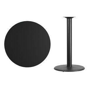 36 Round Black Laminate Table Top With Base Bar Height Restaurant Table