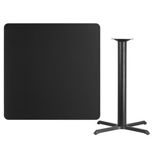 42 Square Black Laminate Table Top With Base Bar Height Restaurant Table