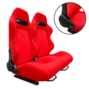 1 Pair Red Cloth Racing Seats Reclinable W Sliders Fit For Honda
