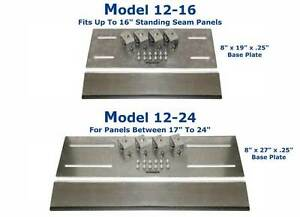 Standing Seam Metal Roof Attachment Plate 12 24 Fits Panels Up To 24 Inches Wide