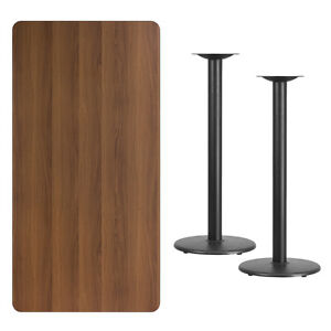 30 X 60 Walnut Laminate Table Top With Base Bar Height Restaurant Table