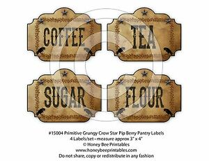 Primitive Grungy Kitchen Pantry Labels Crow Star Pip Berries 15004
