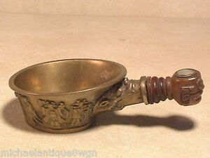 Antique Chinese Brass Silk Iron W Carved Wooden Handle In Hand Form