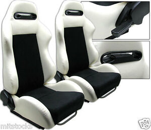 2 White Black Racing Seats Reclinable Sliders Fit For Volkswagen New