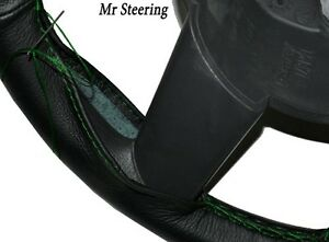Black Leather Steering Wheel Cover Green Stitching For Dodge Ram Ii 3500 94 01