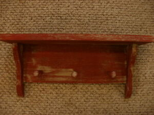 Red Weathered Looked Peg Shelf 19 Long Primitive Rustic Wood