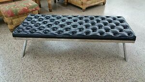 Sensual 70 S Mod Style Tufted Long Wide X Stretcher Chrome Bench