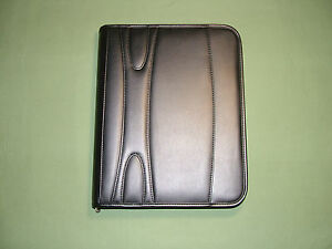 Simulated Leather 3 ring Binder Portfolio Padfolio Zipper Organizer Black New