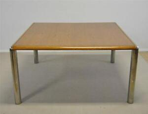 Mid Century Modern Oak And Chrome Dining Table Pace 57 With Two 18 Leaves