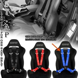 4 Point Racing Safety Harness Camlock 2 Inch Strap Seat Belts Mounting Blue