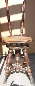 Old Fashioned Antique Vintage Wooden Piano Organ Swivel Stool W Claw