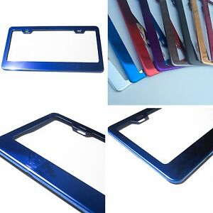 Powder Coated Blue Chrome Stainless Steel License Plate Frame Bracket Holder New