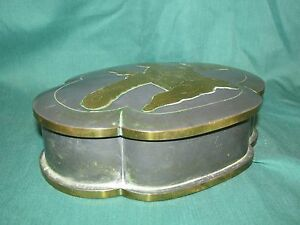 Old Or Antique Chinese Patkong Pewter Brass Mounted Box