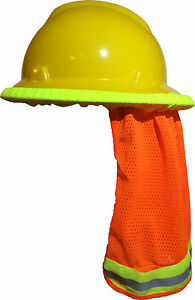 50 Pcs Safety Hard Hat Neck Shield Helmet Sun Shade Hi Vis Reflective Stripe Or