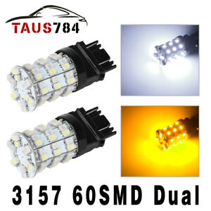 2x 3157 3528 60smd Switchback Dual Color White Amber Drl Signal Led Bulbs