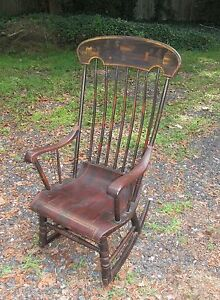 Americana American Antique Hand Painted Original New Jersey Rocking Chair Signed