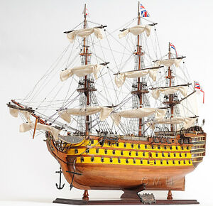 Hms Victory Admiral Nelson Tall Ship 37 Wood Model Painted Sailboat Assembled