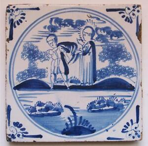 17thc Dutch Delft Blue Pottery Tile Biblical The Prodigal Son Religious 13cm