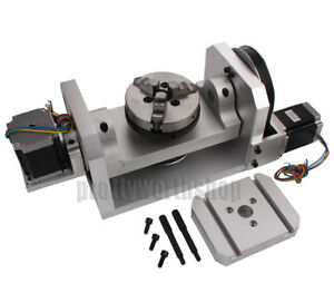 Cnc Router Rotary Table Rotational A C Axis 4th 5th Self centering 100mm Chuck