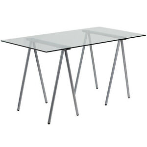 Contemporary Design Glass Computer Office Desk With Silver Frame