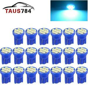 20x T10 194 192 Led Bulbs Ice Blue Interior License Plate Instrument Dash Light
