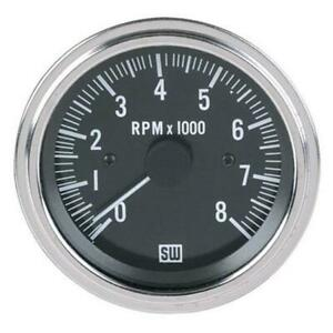 Stewart Warner 82170 Deluxe Black Tachometer Electric 3 3 8 Inch 0 8000 Rpm