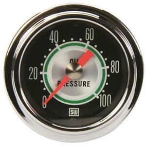 Stewart Warner 360dp Green Line 2 1 16 Mechanical Oil Pressure Gauge