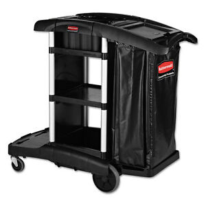 Rubbermaid Commercial Executive High Security Janitorial Cleaning Cart Black