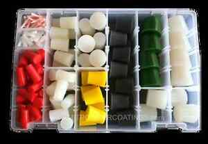 High Temp Silicone Powder Coating Paint Masking Tapered Plug Kit 186 Pc
