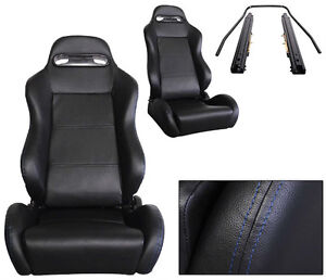 New 2 Black Blue Stitch Pvc Leather Racing Seats All Ford Mustang