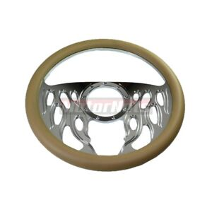 Beige Leather Half Flame Impala Hot Rod Steering Wheel Aluminum