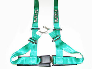 Takata Drift Ii 4 Point Bolt On 2 Racing Seat Belt Harness Green