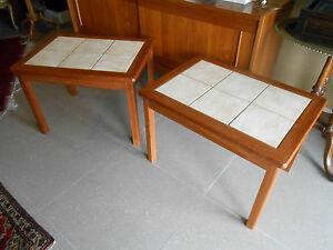 Mid Century Danish Modern Teak Tile Side Tables Night Stands 2 Available