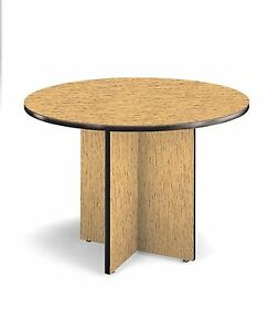 42 Round Conference Table With High pressure Laminate Surface And Oak Finish