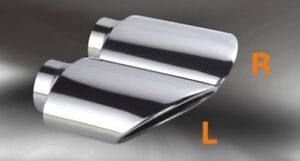 Exhaust Tip Rolled Slanted Angle Cut Oval Tail Pipe 2 25 Inlet Stainless Steel