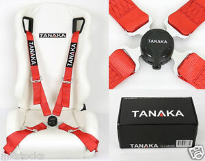 1 Tanaka Universal Red 4 Point Camlock Quick Release Racing Seat Belt Harness 2