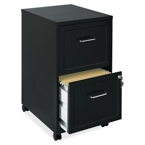 Lorell 16872 2 drawer Mobile Steel File Cabinet 18 Depth Locking Drawer Black