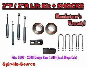 2002 2008 Dodge Ram 1500 2wd 3f 2r Inch Coil Spacer Block Lift 3 Shocks