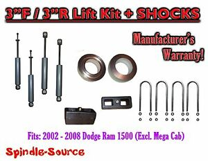 2002 2008 Dodge Ram 1500 2wd 3f 3r Inch Coil Spacer Block Lift 3 Shocks
