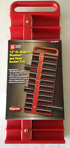 1 2 Dr Magnetic Standard And Deep 22pc Socket Tray Choice Of Red Or Black
