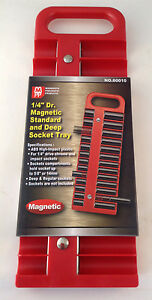 1 4 Dr Magnetic Standard And Deep 22pc Socket Tray Choice Of Red Or Black