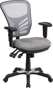 Mid back Gray Mesh Office Chair With Triple Paddle Control Task Chair