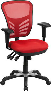 Mid back Red Mesh Office Chair With Triple Paddle Control Task Chair