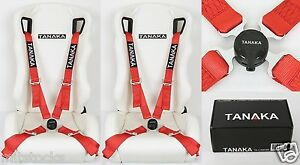 2x Tanaka Red 4 Point Camlock Quick Release Racing Seat Belt Harness Fit Bmw