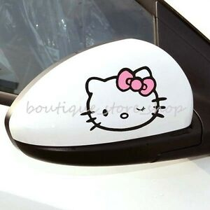 Cute 2pc Hello Kitty Bow Cartoon Rearview Mirror Vehicle Car Stickers Wall Decal