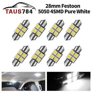 10x Super White T10 Dome License Plate Tag Interior 10 Led Smd Light Bulbs