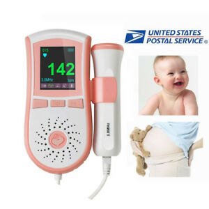 Portable Fetal Doppler 3mhz Probe Baby Sound Monitor Lcd Display Gel Usps Ship